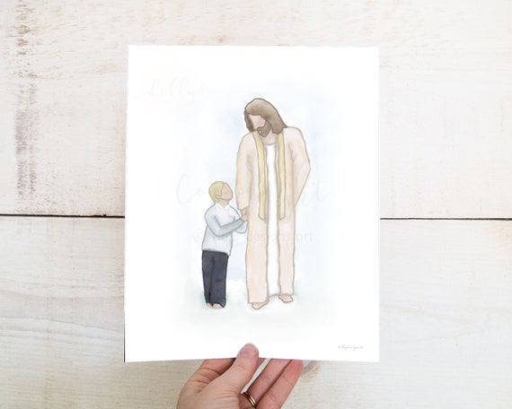 Smaller Boy With Christ, Boy With Christ, Boy Walking With Jesus, Jesus Footsteps, Jesus Christ Painting, Acrylic Painting, Digital Painting