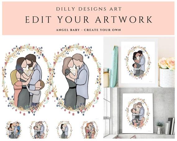 Edit Your Artwork, Custom Family, Angel Baby, Create Your Family, Family Painting, Digital Artwork, Faceless Family, Custom Sympathy, Custom