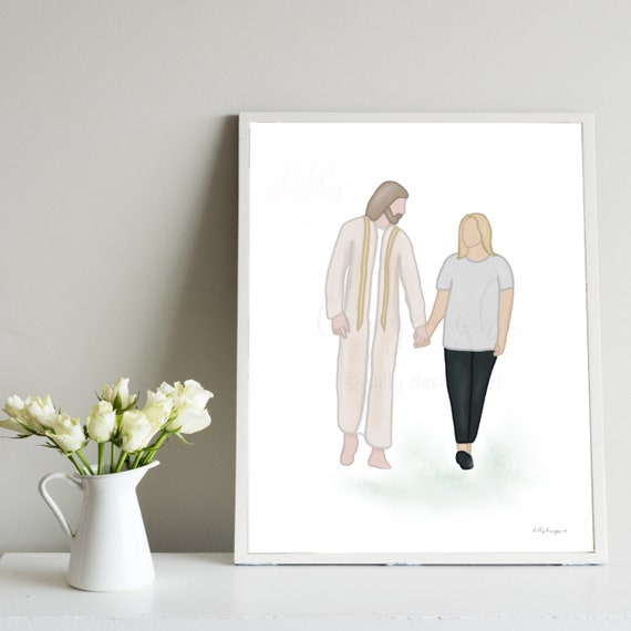 Woman Walking With Jesus, Walking With Christ, Woman Holding Hands With Jesus, Girl With Jesus, I Am With You, Faith Gift, Depression Gift