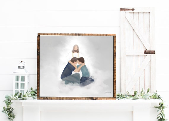 Dad and Son Reuniting in Heaven, Dad and Son Embrace, Jesus Christ Artwork, Father and Son, Gift for Son, Gift for Father, Memorial Artwork