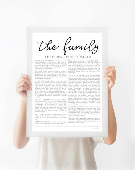 The Family Proclamation, Family Proclamation, The Family, A Proclamation To The World, Modern Family Proclamation, Family Proclamation Sign