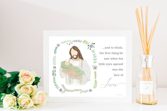 Angel Baby Gift, Face of Jesus, First Thing He Saw, Christ Holding Baby, Jesus Holding Baby, Christ Holding Infant, Stillbirth Gift, Grief