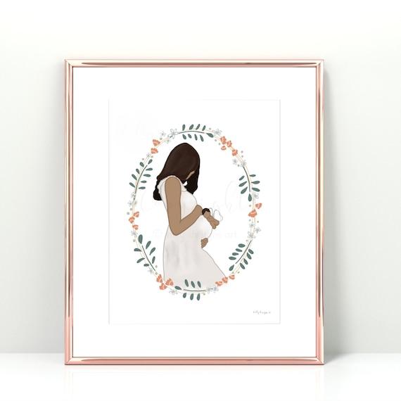 Rainbow Mama, Rainbow Mom, Rainbow Baby, New Mom, Pregnancy Art, New Mom Art, Printable Art, Angel Baby, IVF, Miscarriage, Pregnancy Loss