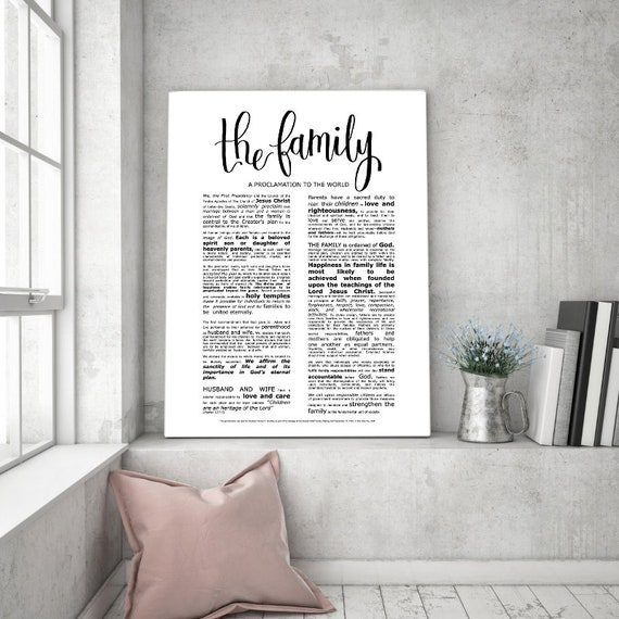 Family Proclamation, Modern Emphasized, Modern LDS Printable, The Family, A Proclamation To The World, Church of Jesus Christ, Modern LDS