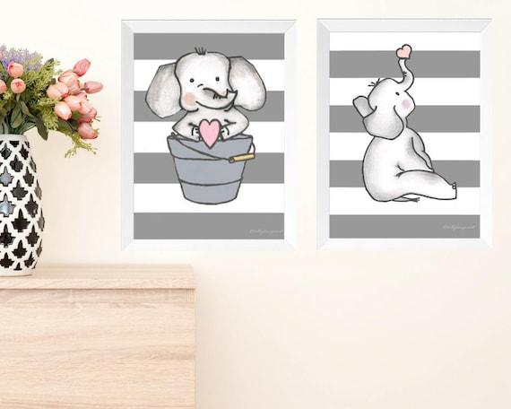 Elephant Nursery, Bundle, Instant Download, Elephant Decor, Gray and White Stripe, Elephant Printable, Elephant Wall Art, Elephant Print