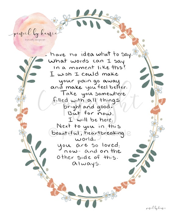 I have no idea what to say, Sympathy Card, Sympathy Art, Thinking of You, Hardship Card, Grieving, Bereavement, Trials, Condolence Card, Art