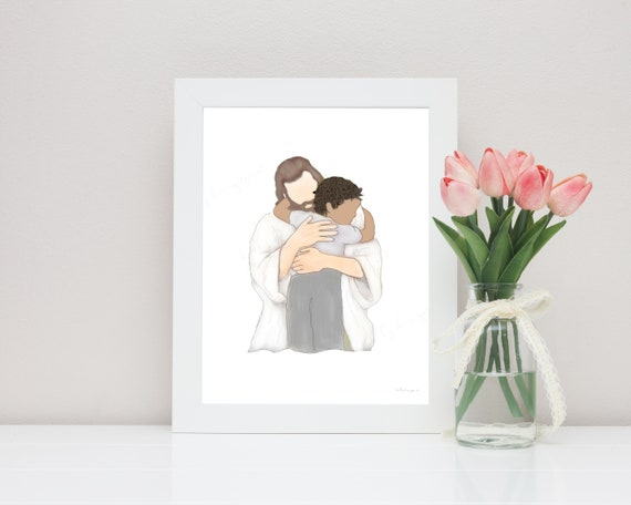 Church Art, Church Printable, Church Art Print, The Church, Jesus Crist, Artwork, Jesus Painting, Digital Art, Christ Hugging, Embracing,Art