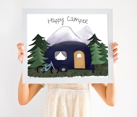 Happy Camper Artwork, Hand Drawn Art, Camper Gift, Camper Decor, Camper Art, Happy Campers, Digital, Watercolor, Outdoors Gift, Nature Art