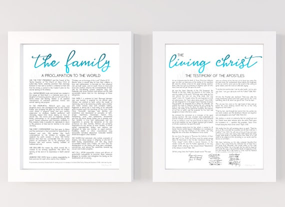 The Family Proclamation, Living Christ, Bundle, Family Proclamation, Living Christ, Proclamation, Modern Proclamation, LDS, Sign, Blue Foil