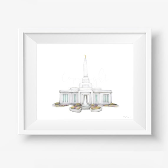 Indianapolis Temple, Temple Painting, Digital Art, Hand Drawn, LDS Temples, Church of Jesus Christ, Latter Day Saints, Indianapolis, Church