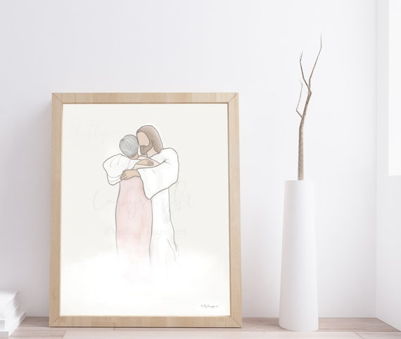 Jesus Embrace, Printable Art, Funeral Art, Remembrance Art, Jesus Christ Art, Christian Art, Bereavement Gift, Funeral Gift, Grandma Art
