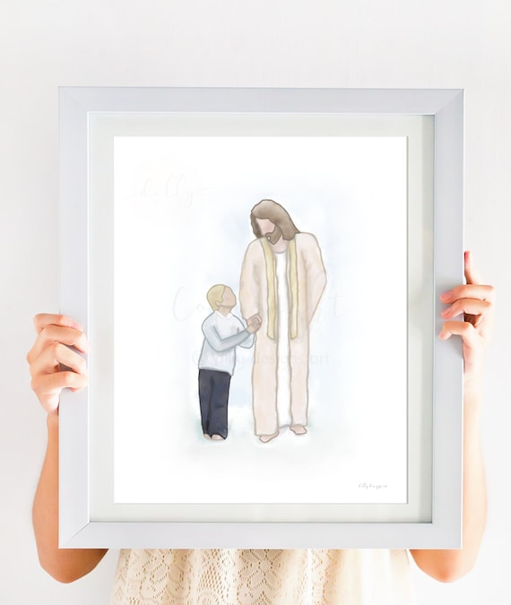 Jesus Walking With Boy, Jesus Walking With Child, Jesus and Child, Boy Christian Gift, Boy Baptism Gift, Blonde Boy, Jesus Christ Painting