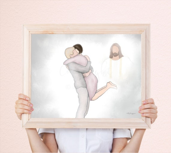 Welcome Home, Couple, Spouse Loss, Wife Loss, Husband Loss, Memorial Painting, Digital, Watercolor Painting, Instant Gift, Funeral Gift, Art