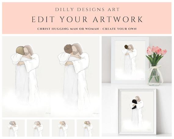 Edit Your Artwork, Man or Woman With Christ, Your Image, Man Hugging Christ, Woman Hugging Jesus, With Jesus, Bereavement, Funeral, Custom