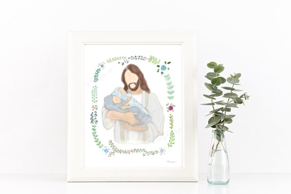 Infant Loss Gift, Infant Loss, Miscarriage Gift, Miscarriage, Twin Loss, Christ Holding Baby, Loss of Twins, Twin Loss Gift, Infant Loss Art