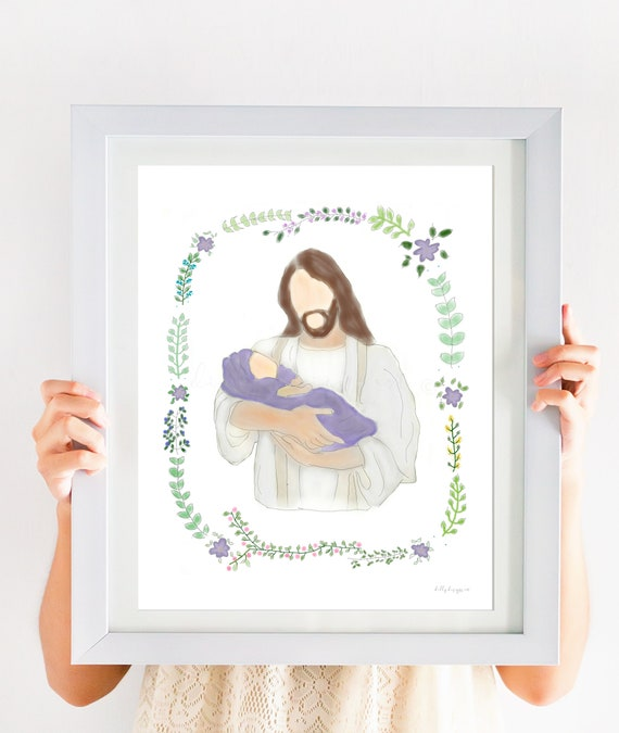 Infant Loss Gift, Miscarriage Gift, Baby Loss Gift, Pregnancy Loss Gift, Stillborn, Stillbirth, Christ Holding Baby, Jesus Art, Baby Loss