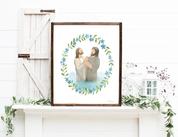 Jesus Baptism, John The Baptist, St John, Jesus Christ, Christ Baptism, Christ and John The Baptist, Jesus Watercolor, Christ Watercolor