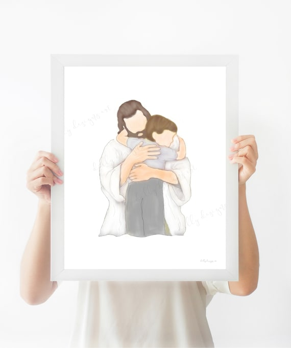 Religious Printables, Christ Embracing Boy, Jesus and Boy, Boys Bedroom Decor, Religious Handout, Christian Handout, Baptism Gift, Communion