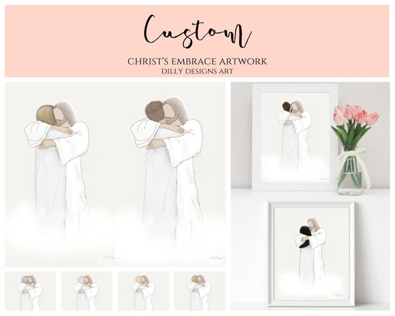Custom, Personalize, Man or Woman With Christ, Your Image, Man Hugging Christ, Woman Hugging Jesus, With Jesus, Bereavement, Funeral, Custom