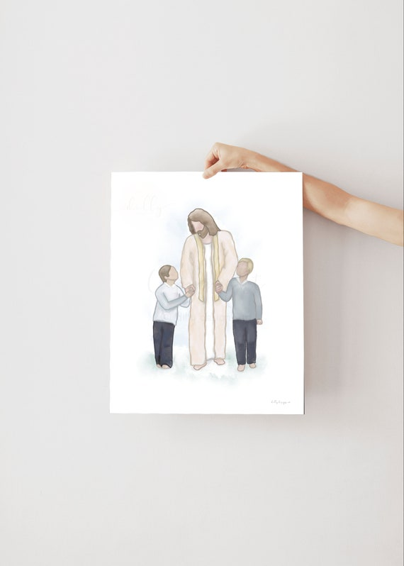 Jesus and Children, Jesus Walking With Boys, Boys and Christ, Christ Artwork, Jesus Artwork, Jesus Christ, Christian Painting, Christ Art