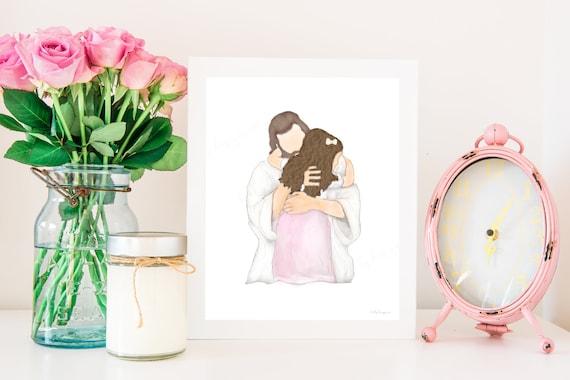 Printable Artwork, Jesus Hugging Girl, Children With Christ, Meeting Jesus, With Christ, With Jesus, Christ Printables, Jesus Printables