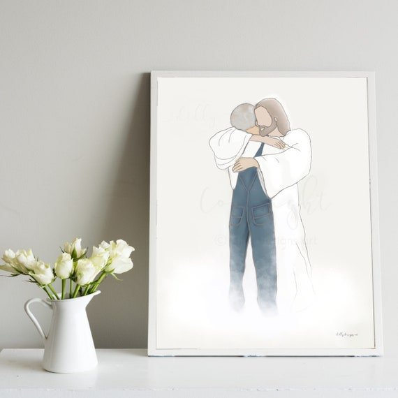 Loss of Grandpa, Husband Memorial, Father Memorial, Jesus Hugging Man, Christ Artwork, Funeral Gift, Thoughtful Gift, Sympathy for Loss, Art