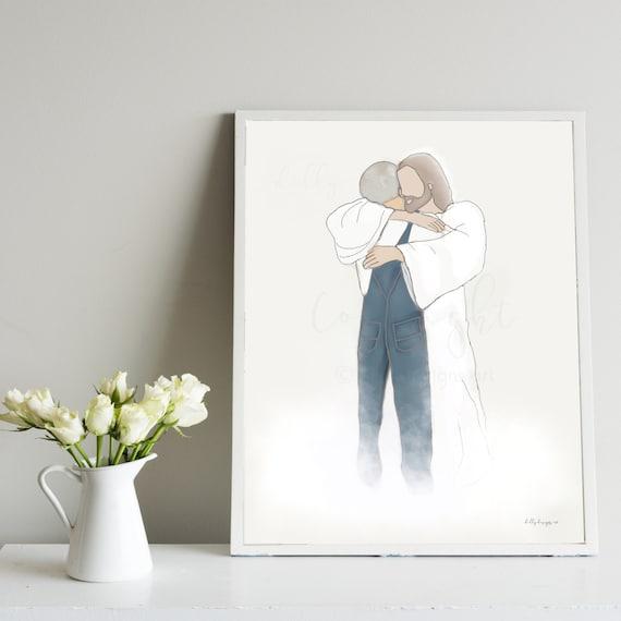Loss of Grandpa, Husband Memorial, Father Memorial, Jesus Hugging Man, Christ Artwork, Funeral Gift, Thoughtful Gift, Sympathy for Loss, Art