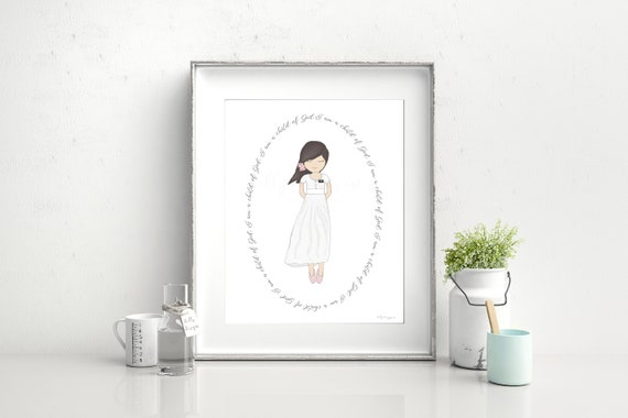 Baptism Gift, Baptism Printable, Baptism Art, Girl Baptism, Whimsical Art, Whimsical Girl, Church of Jesus, Jesus Christ, Missionary, Church