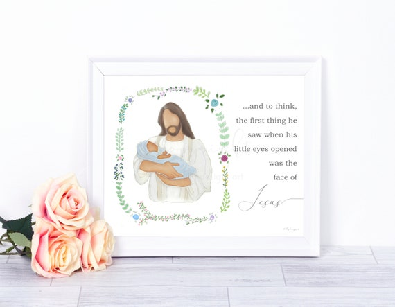 Baby Loss Gift, Boy Baby Memorial, Blue Blanket, Dark Skin, Jesus Christ, Jesus Art, Christ Art, Baby Memorial, Infant Memorial, Bereavement