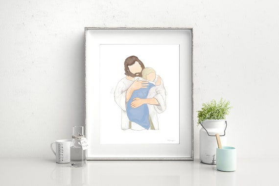 Christ Hugging Child, Boy, Funeral For Boy, Little Boy Funeral, Little Boy Heaven, Grief Gift, Grieving Parents, Christ Holding Boy, Jesus