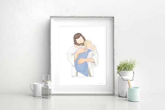 Christ Hugging Child, Boy, Funeral For Boy, Little Boy Funeral, Little Boy Heaven, Grief Gift, Grieving Parents, Christ Holding Boy, Jesus
