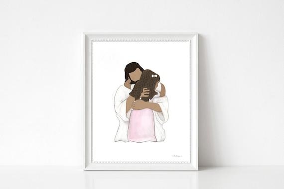 Girl With Jesus, Black Girl, Curly Hair, Christian Art, LDS Art, Communion Gift, LDS Gift, Printable Artwork, Printable Gift, Girls Birthday