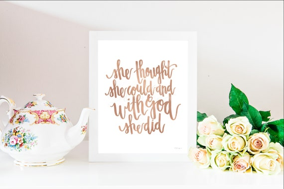 With God She Did, Calligraphy, She Thought She Could, She Believed She Could, Young Womens, Relief Society, Church Printables, Church Art