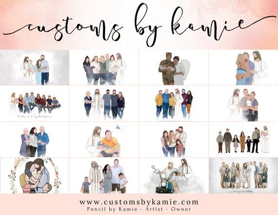 Customs by Kamie, Pay For Custom Artwork, Pencil by Kamie, Custom Family Artwork, Customize Art, Faceless Family Portrait, Custom Orders