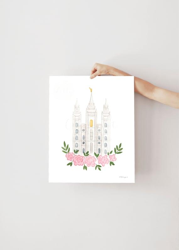 SLC Temple, Temple Art, Instant Digital Download, Salt Lake City LDS, Minimalist Artwork Printable, Temple Watercolor Painting, LDS Temple
