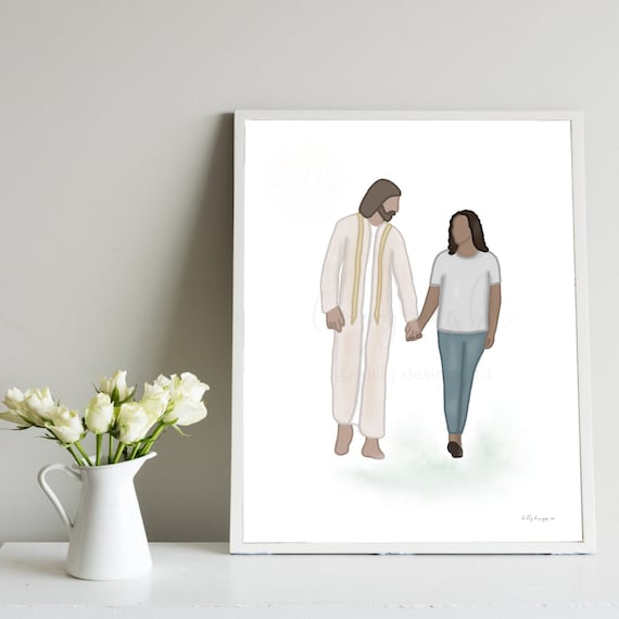 Walking With Jesus, Woman and Christ, Christian Art, Religious Art, Christ Art, Jesus Art, Christian Gift, Gifts That Uplift, Uplifting Art