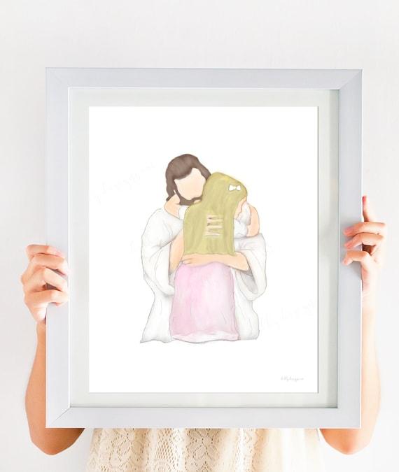 Christ Art, Christian, Christian Wall Art, Christian Decor, Christian Gift, Christ, Christian Printable, Jesus, Art, Christ Hugging Child
