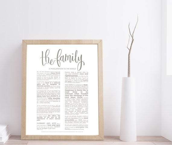 Family Proclamation, Modern Emphasized, Modern LDS Printable, The Family, A Proclamation To The World, Church of Jesus Christ, Latter Day
