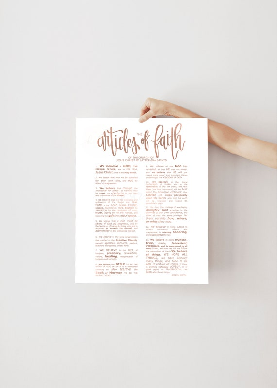 Blush Rose Gold, The Articles of Faith, Home Print, Printable Handouts, LDS Handouts, The Church of Jesus Christ, JPG and PDF Files, church