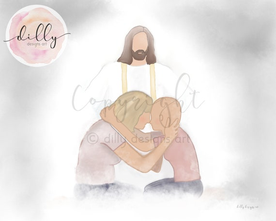 Cancer Gift, Cancer Art, Cancer Printable, Comforting Art, Comforting Gift, Mom and Girl, Mom and Child, Jesus Christ, Jesus Art, Christ Art