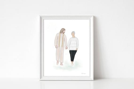 Heaven Art, Bereavement Art, Christ Walking, Hand In Hand, Condolence Art, Bereavement Gift, Condolence Gift, Sympathy Gift, Sympathy Art