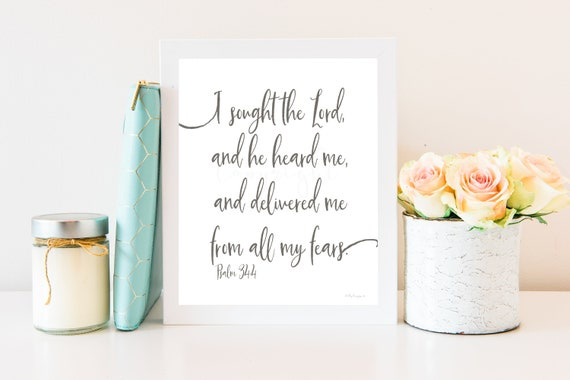 Printable, Bible Verse, I Sought The Lord, Psalm, Scripture, Wall Art, Psalm 34, Sign, Print, Bible Quote, Art, Christ, Word, Christian Sign