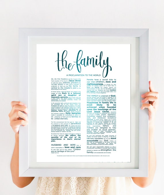 Family Proclamation, Modern Emphasized, Modern LDS Printable, The Family, A Proclamation To The World, Church of Jesus Christ, Large Sign
