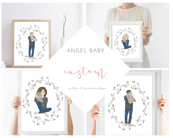 Custom, Personalize, Angel Baby Artwork, Man Holding Baby, Woman Holding Baby, Within 3 Business Days, Edit Hair, Edit Skin Tone, Angel Baby