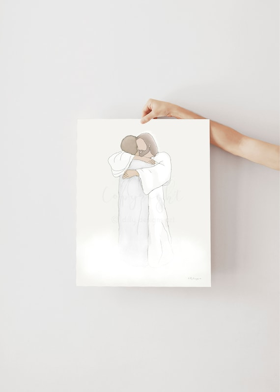 Jesus Hugging Woman, Christ Art, Jesus Art, Funeral Art, Funeral Gift, Funeral Program, Bereavement Gift, Jesus Christ, Savior, God, Heaven