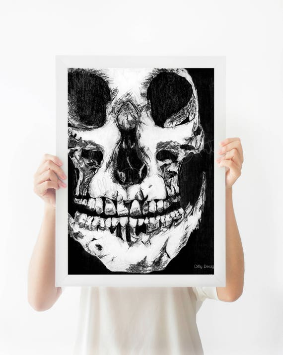 Skull, Printable, Halloween Decor, Skull Printable, Skull Poster, Skull Wall Art, Skull Drawing, Skull Artwork, Skeleton, Skulls, Hand Drawn