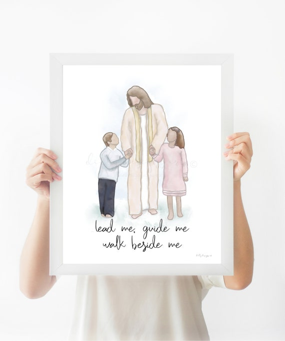 Primary Gifts, Printable Art, Christ Printable, Primary Birthday, Walk Beside Me, Lead Me, Guide Me, Church of Jesus Christ, Jesus Walking