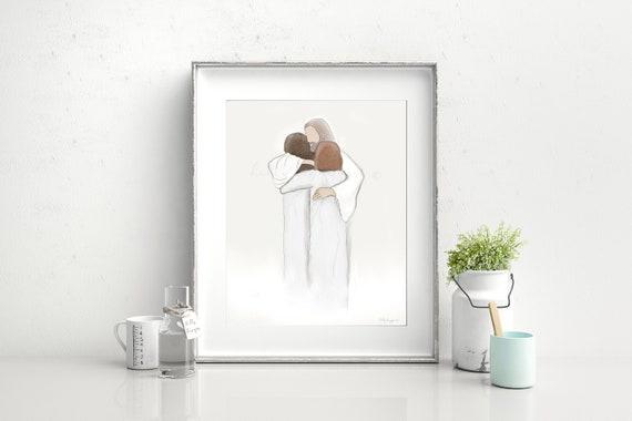 Heaven, Bereavement Gift, Family In Heaven, Sisters In Heaven, Meeting Jesus, Christ's Embrace, Christ Hugging Women, In Heaven, Memorial