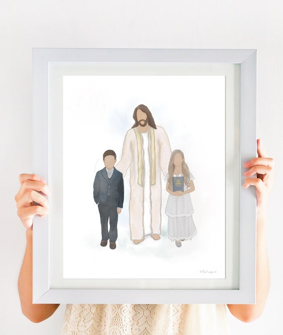 Children With Christ, BOM, Twin Baptism, The Book of Mormon, The Church of Jesus Christ of Latter-Day Saints, Religious Decor, Jesus Artwork