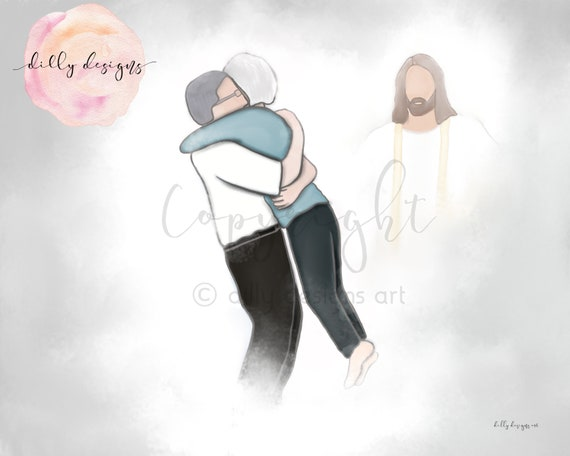 Couple Reuniting, Heaven Depiction, Memorial Art, Remembrance Gift, Funeral Gift, Funeral Art, In Loving Memory, Spouse Loss, Spouse Death
